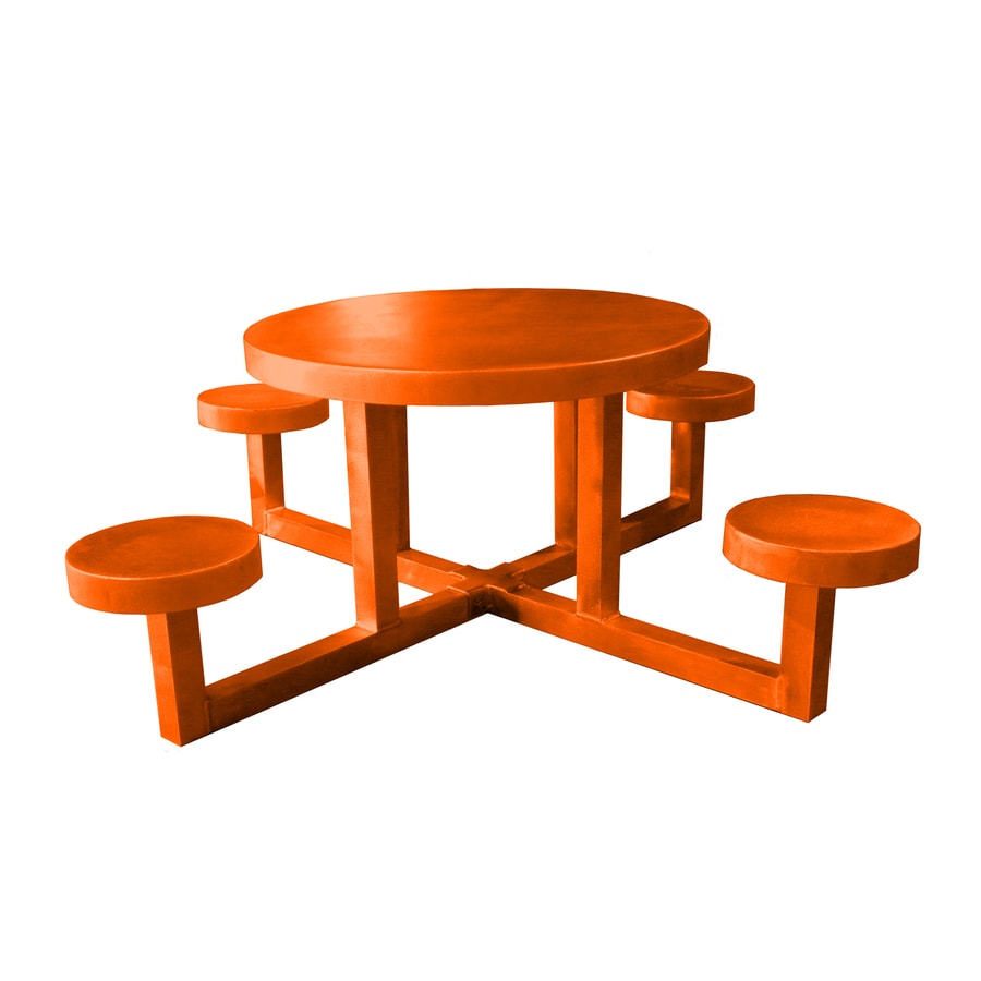 Ofab Orange Cast Aluminum Round Picnic Table