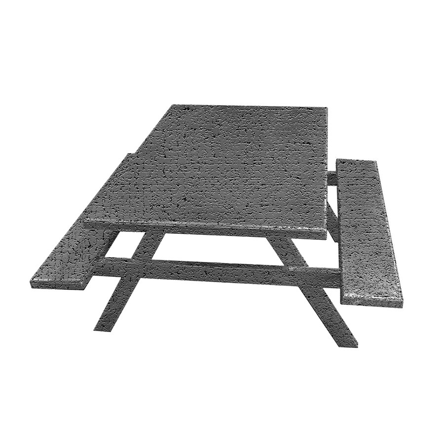 Ofab Gray Tatter Cast Aluminum Rectangle Picnic Table