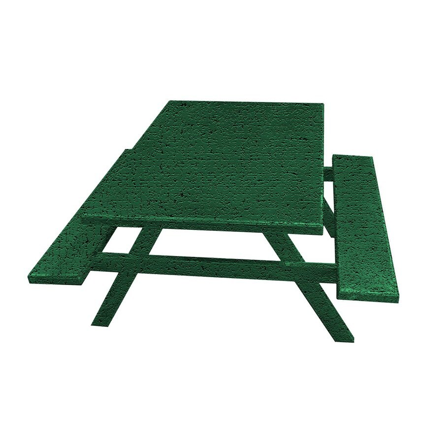 Ofab Green Tatter Cast Aluminum Rectangle Picnic Table