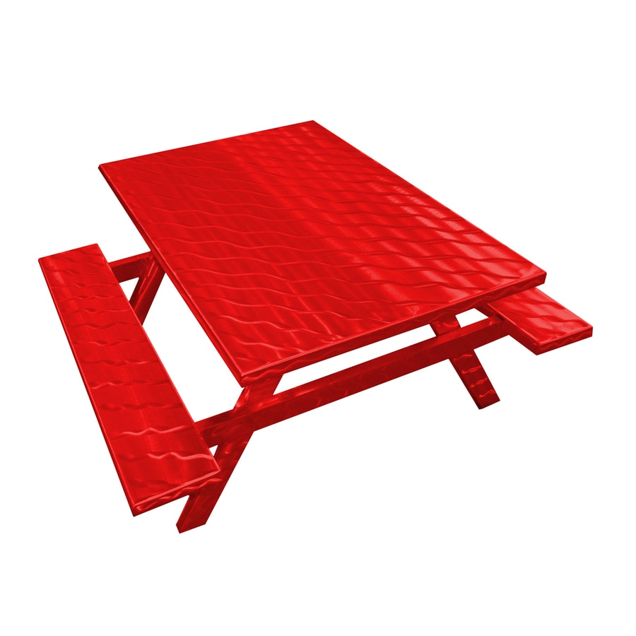 Ofab Red Translucent Cast Aluminum Rectangle Picnic Table
