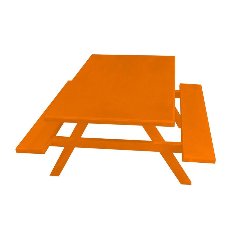Ofab Orange Cast Aluminum Rectangle Picnic Table