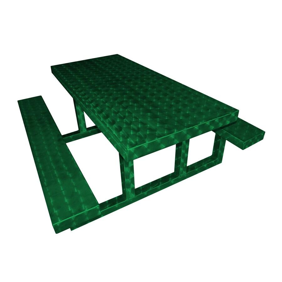 Ofab Green Translucent Cast Aluminum Rectangle Picnic Table