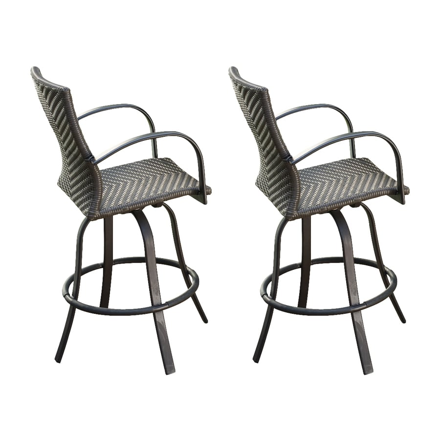 Outdoor Greatroom Company Naples Set Of 2 Aluminum Swivel Patio Bar Stool Chairs With Wicker Seat