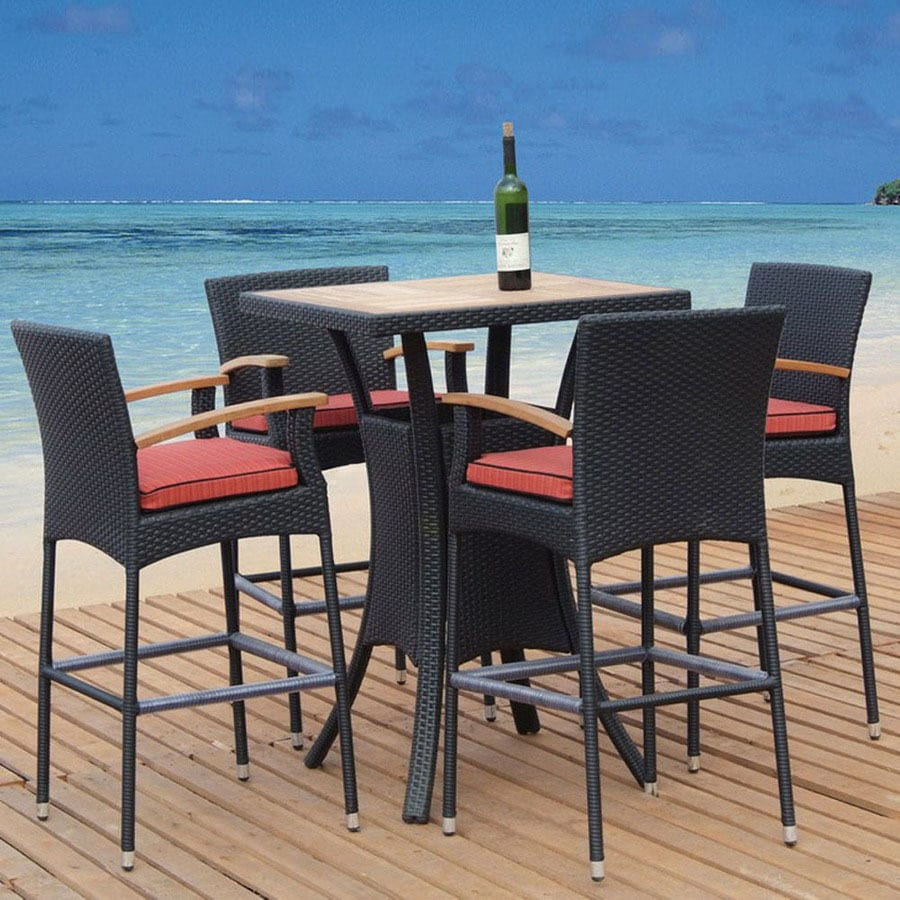 Shop Tosh Furniture 5 Piece Cushioned Wicker Patio Bar Height Set At