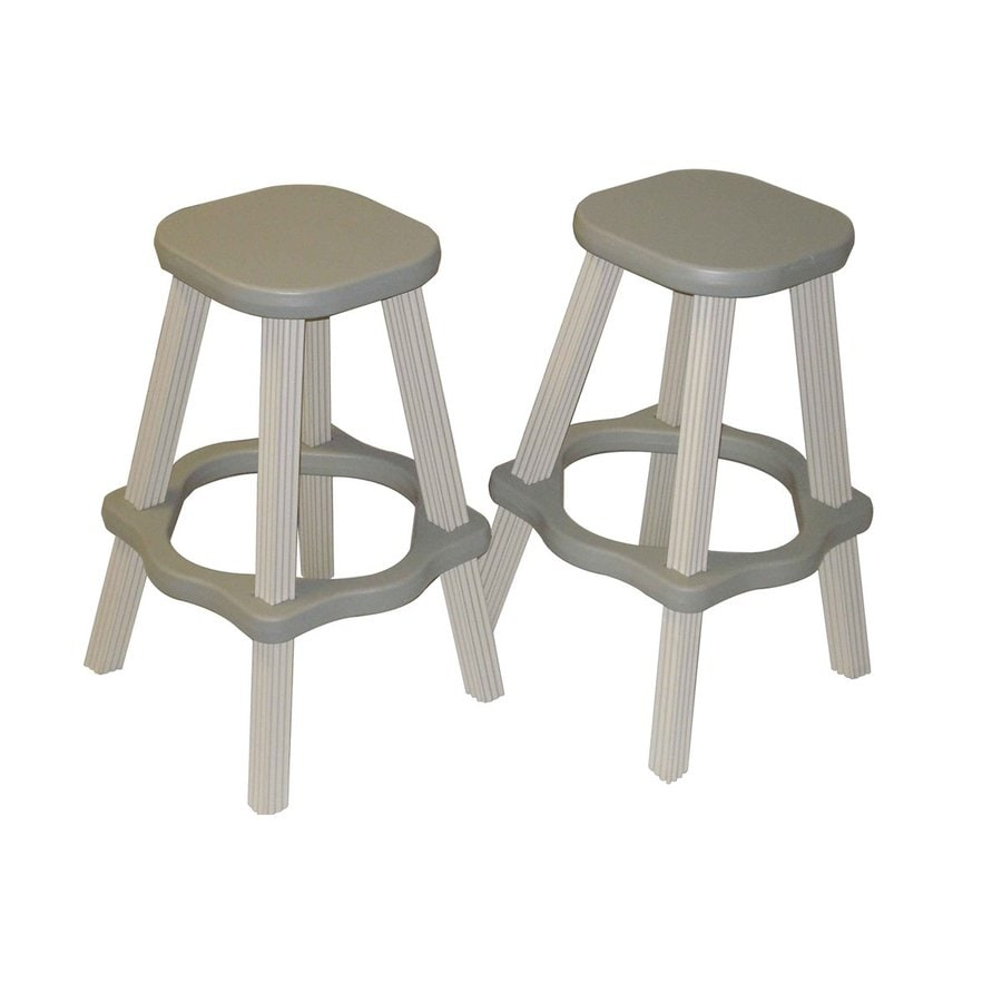 Confer Plastics Patio Essentials 2-Count Gray Plastic Stackable Patio Barstool Chairs
