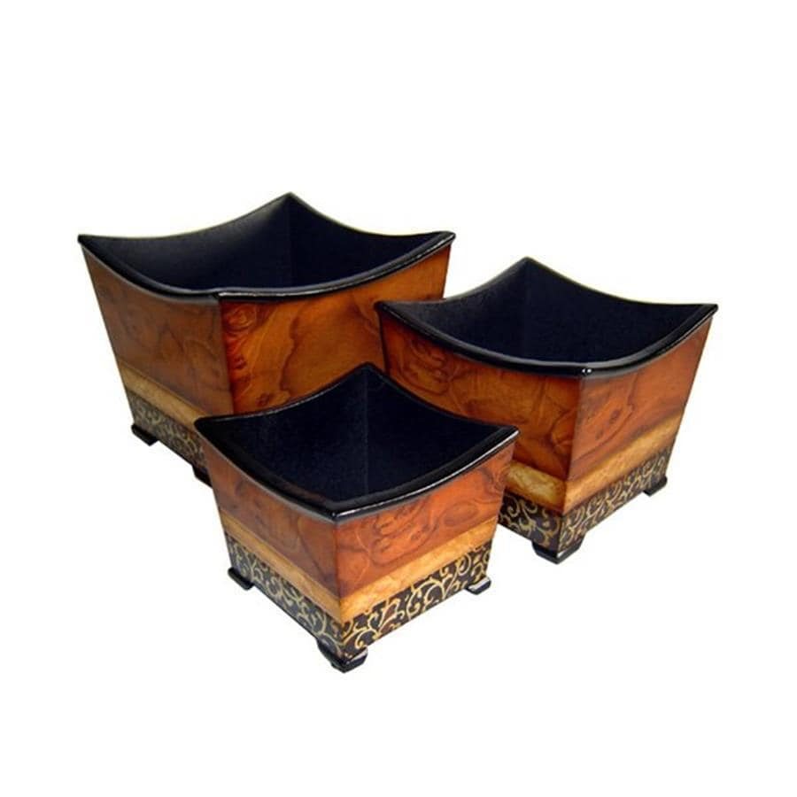 Cheung's 14-in x 3.5-in Brown Wood Square Planter