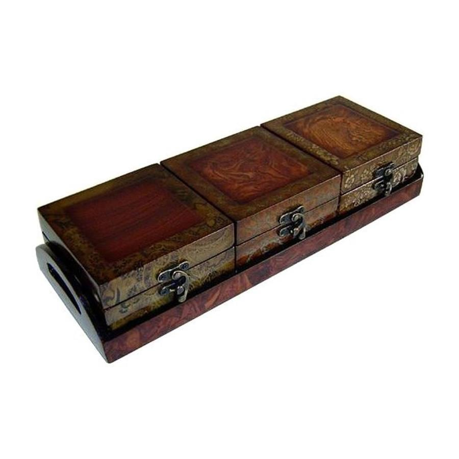 Cheung's Wood Rectangular Decorative Box with Tray