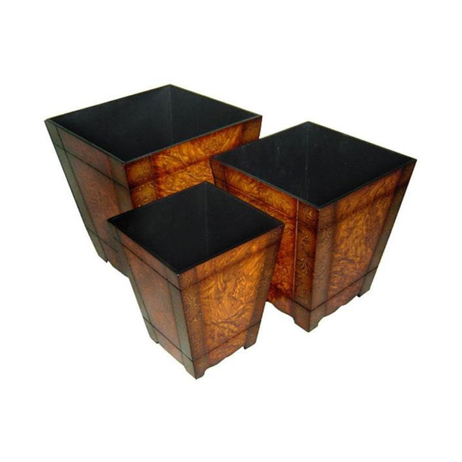 Cheung's 12.5-in x 13.5-in Brown Wood Tapered Planter