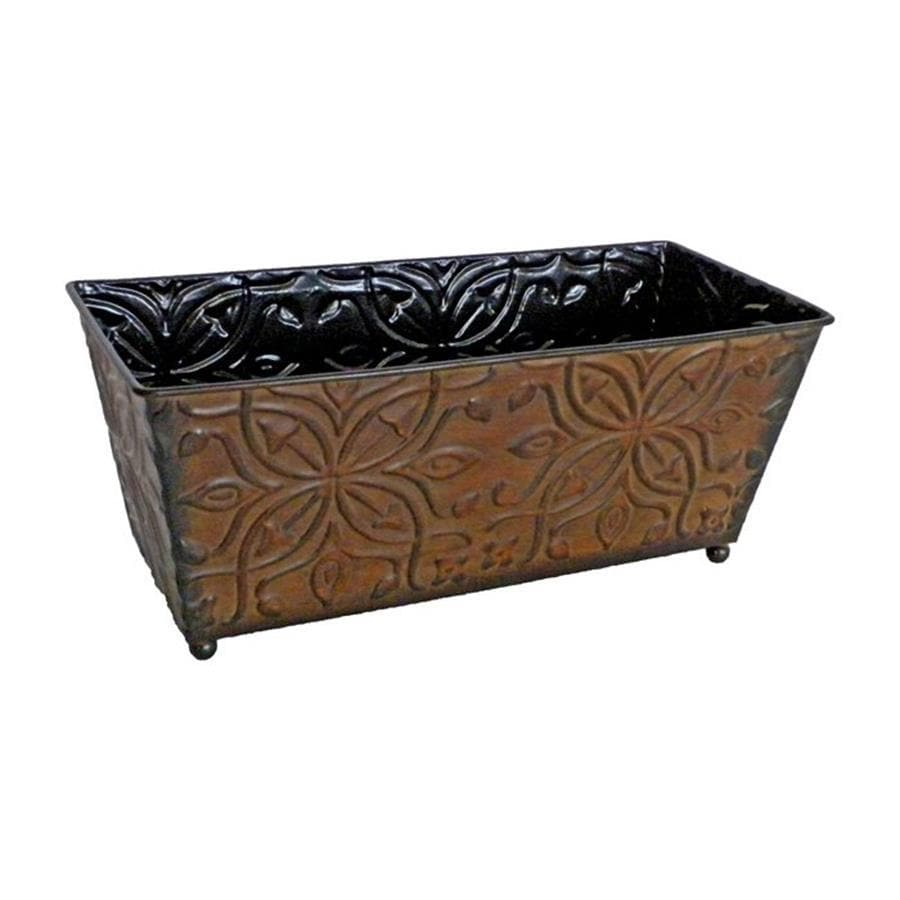 Cheung's 12-in x 5-in Brown Metal Ledge Planter