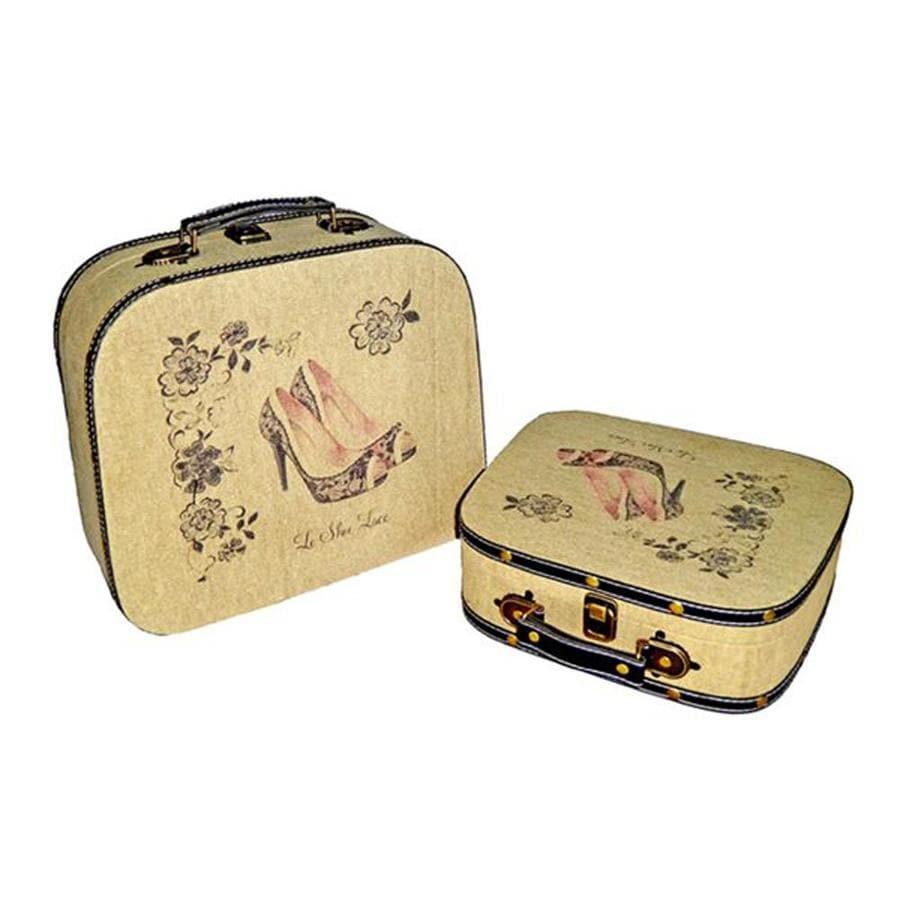 Cheung's Set of 2 Multicolor Rectangular Ladies Peep Toe Lace Heel Suitcase Decorative Boxes
