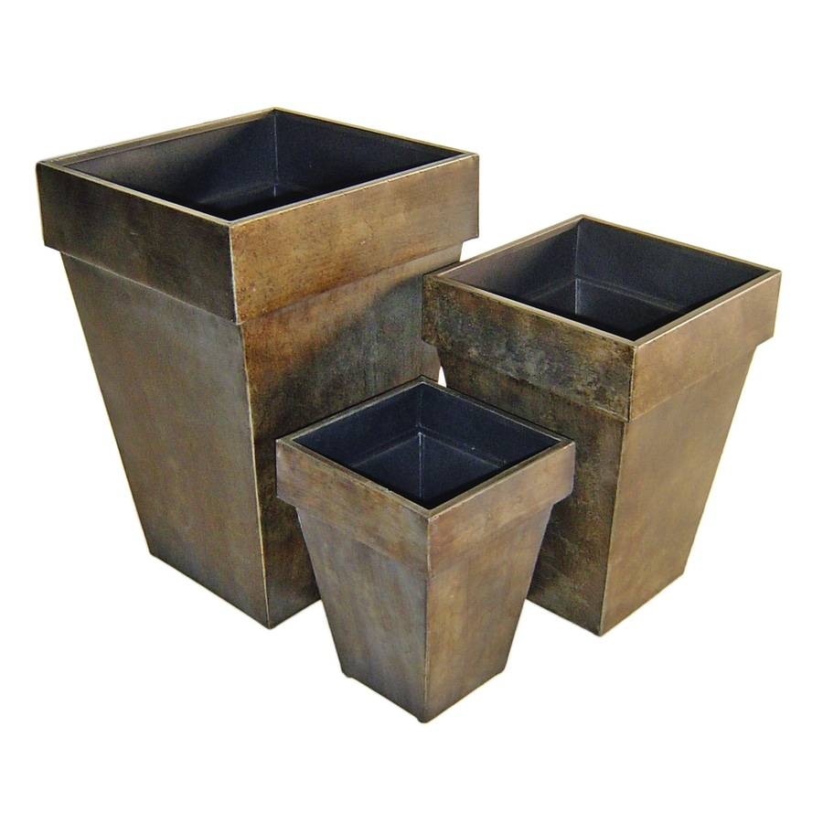 Cheung's 14-in x 20.75-in Bronze Metal Tapered Planter