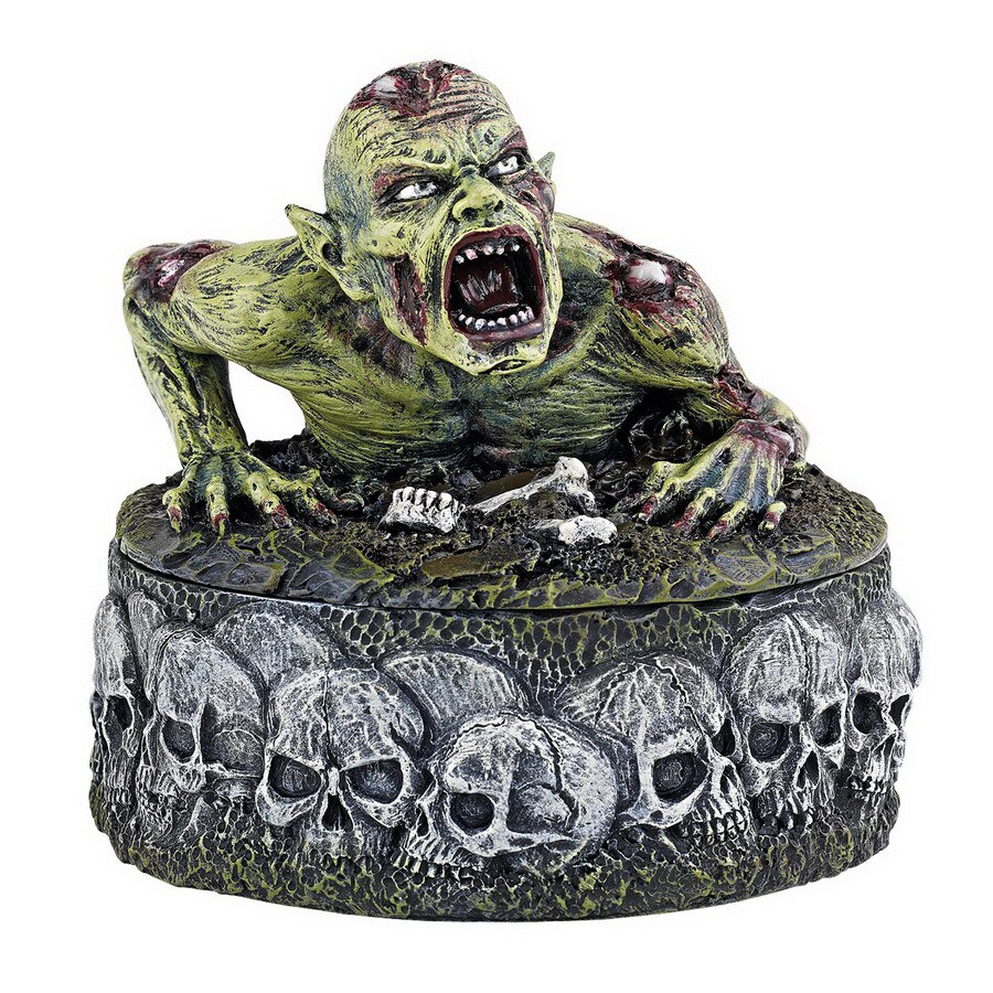 Design Toscano Zombie Skull Cauldron Box Tabletop Figurine