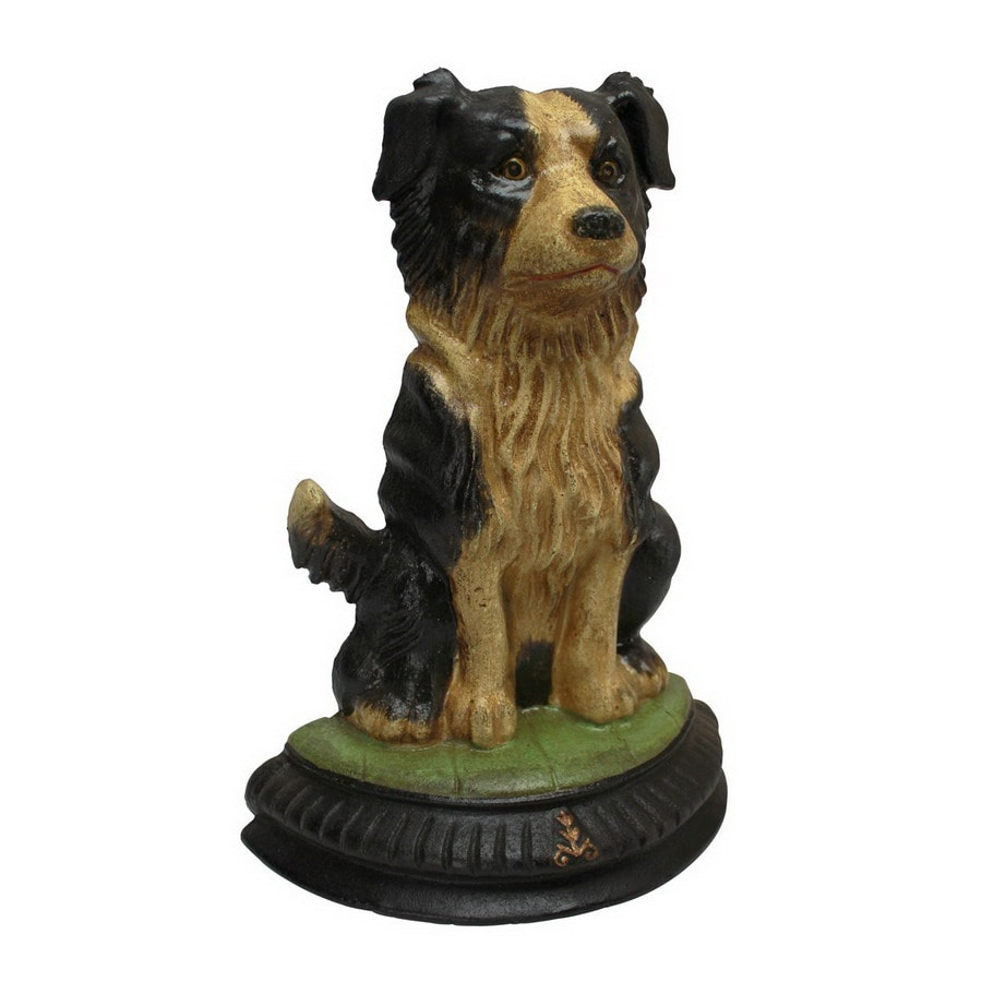 Design Toscano Rectangular Die-Cast Iron Border Collie Dog Doorstop Statue