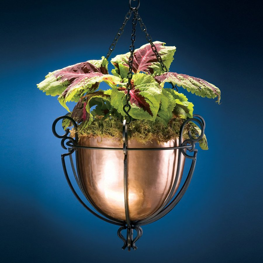 H. Potter 17-in x 13.5-in Antique Copper Metal Hanging Basket