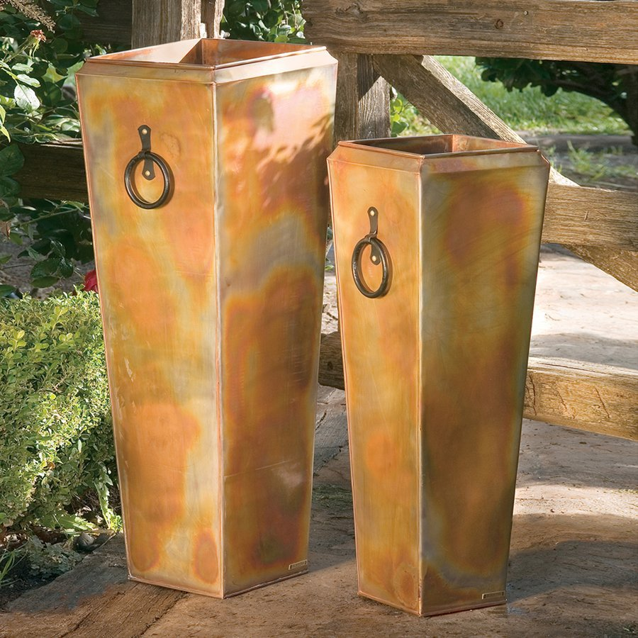 H. Potter 13 In W X 35 In H Rustic Copper Metal Planter
