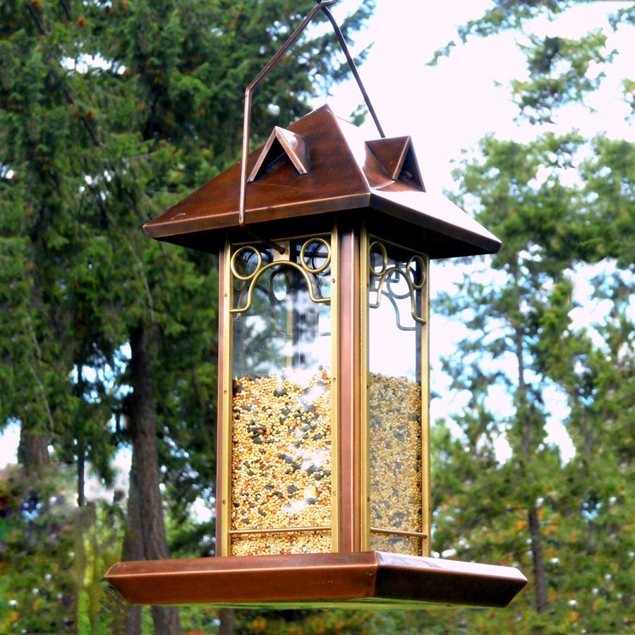 H. Potter Hip Roof Metal Tube Bird Feeder