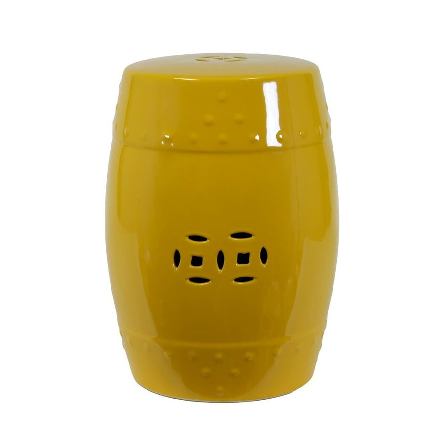 Urban Trends 18 In Yellow Ceramic Round Double Coin Garden Stool