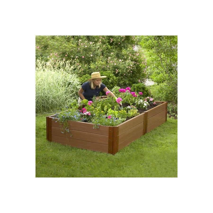 Scenery Solutions 96-in W x L x 18-in H Brown Composite Raised Garden Bed