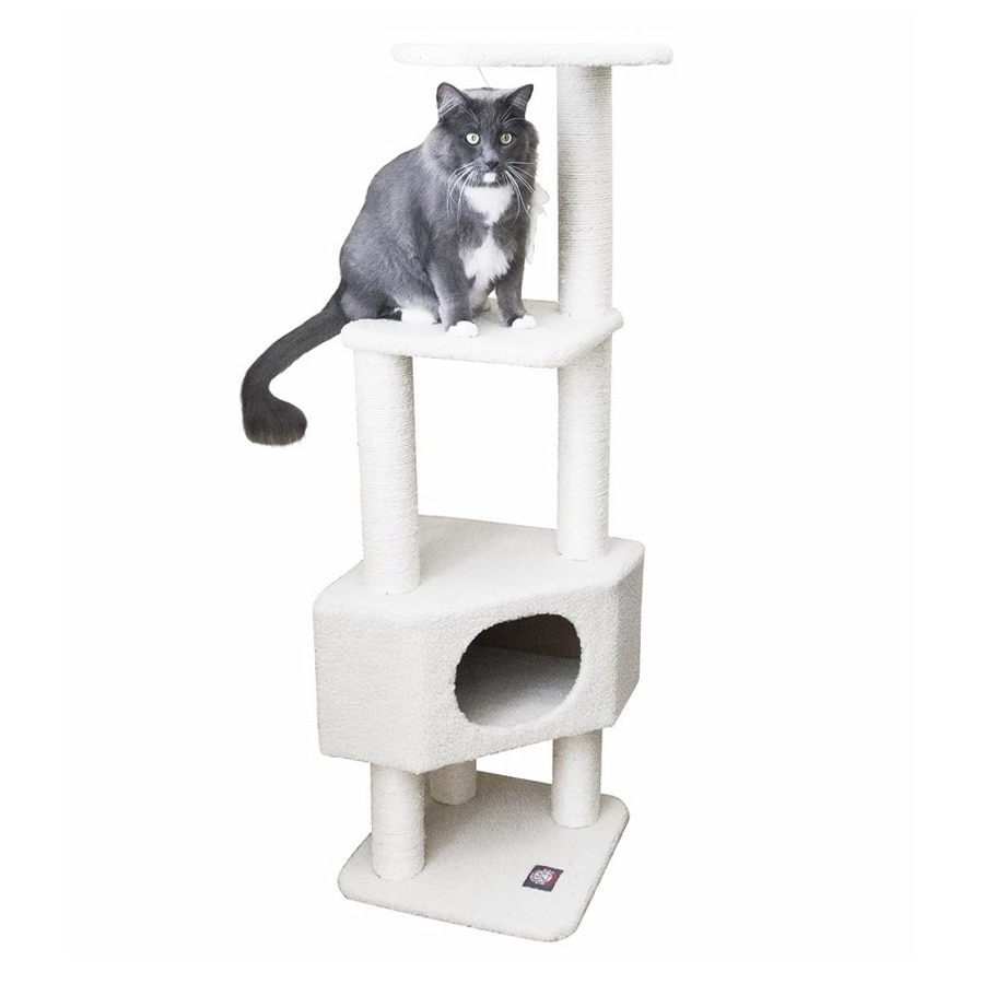 Majestic Pets Bungalow 52-in White Faux Fur Cat Tree
