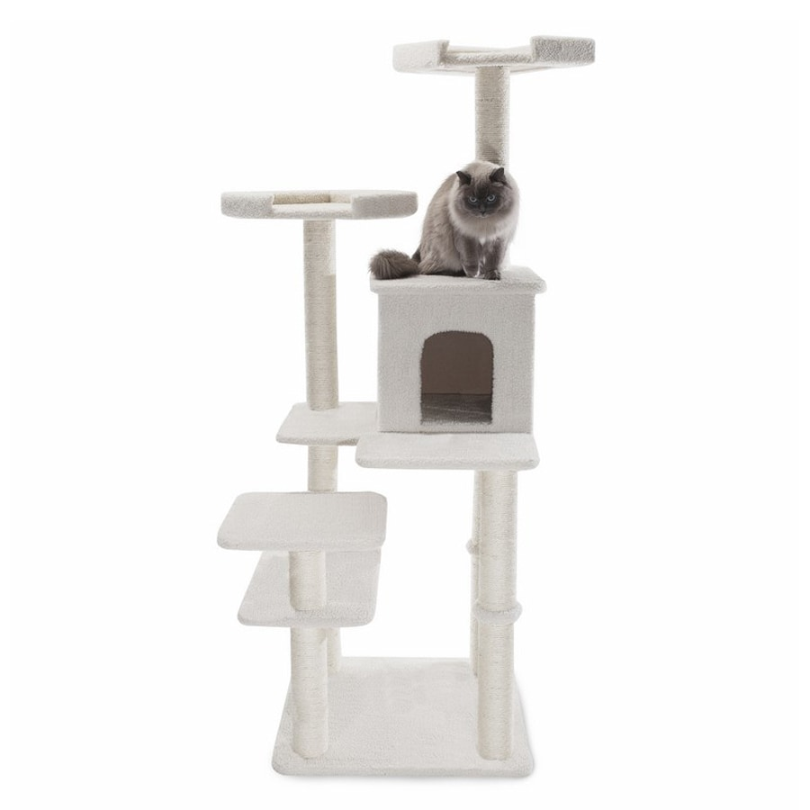 Majestic Pets Bungalow 66-in White Faux Fur Cat Tree