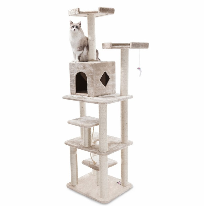 Majestic Pets Casita 78-in Off-White Faux Fur Cat Tree