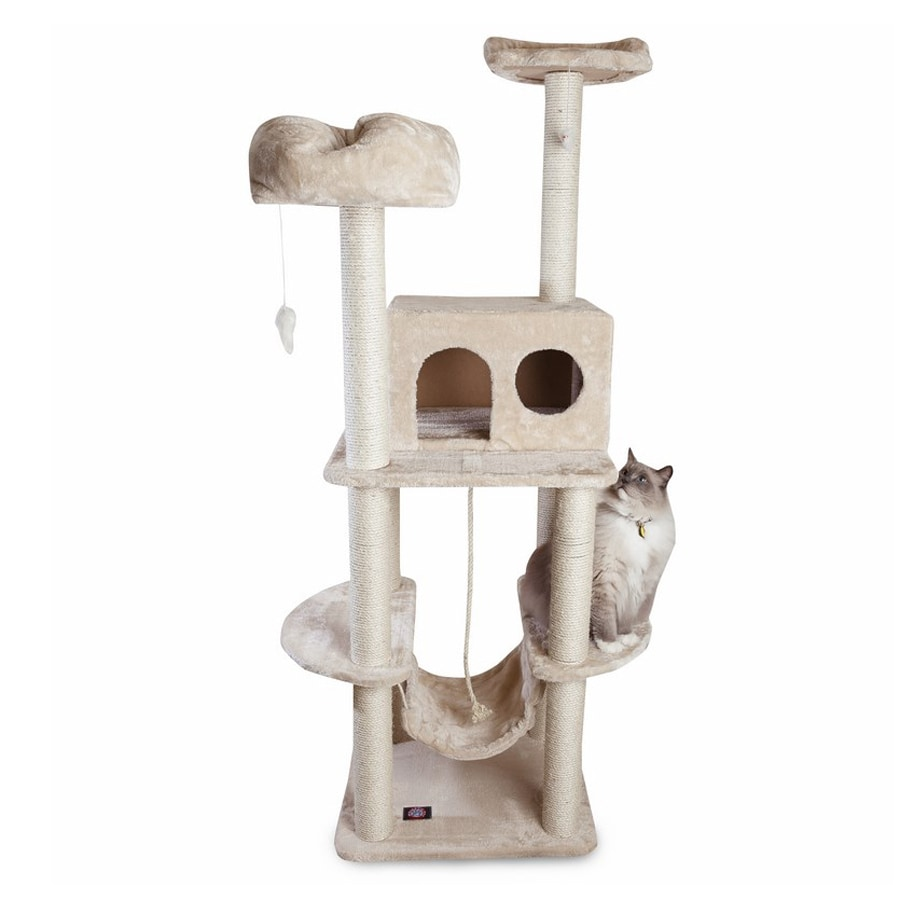 Majestic Pets Casita 76-in Off-White Faux Fur Cat Tree