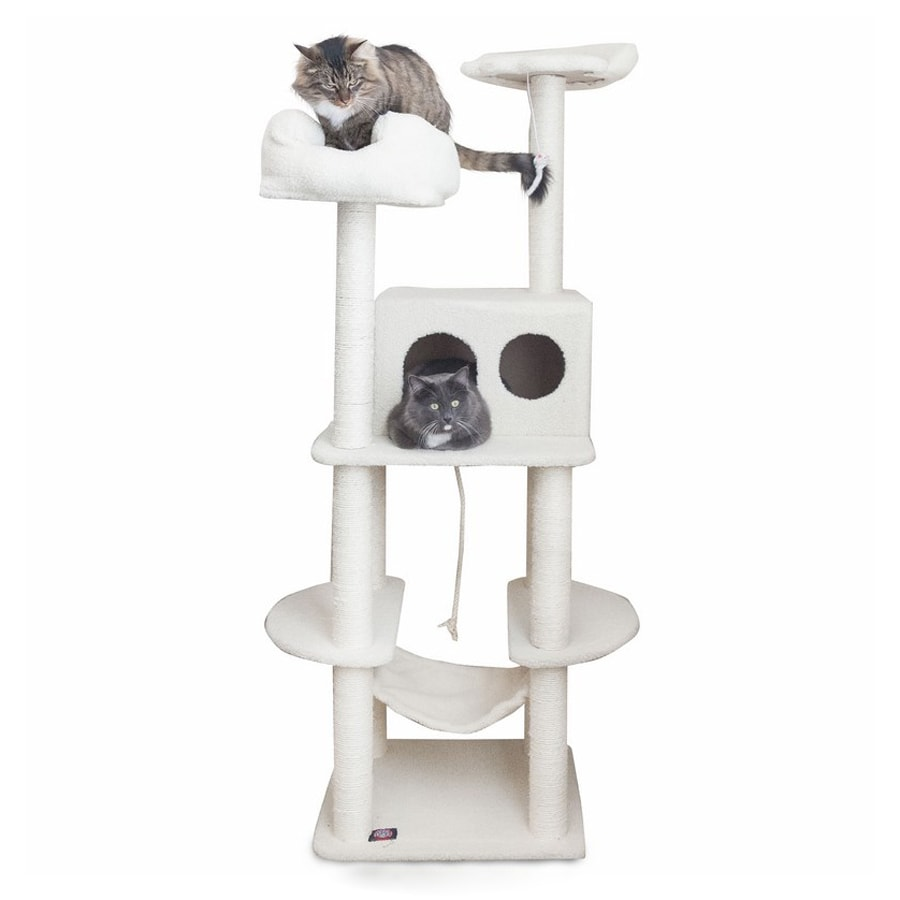 Majestic Pets Bungalow 76-in White Faux Fur Cat Tree