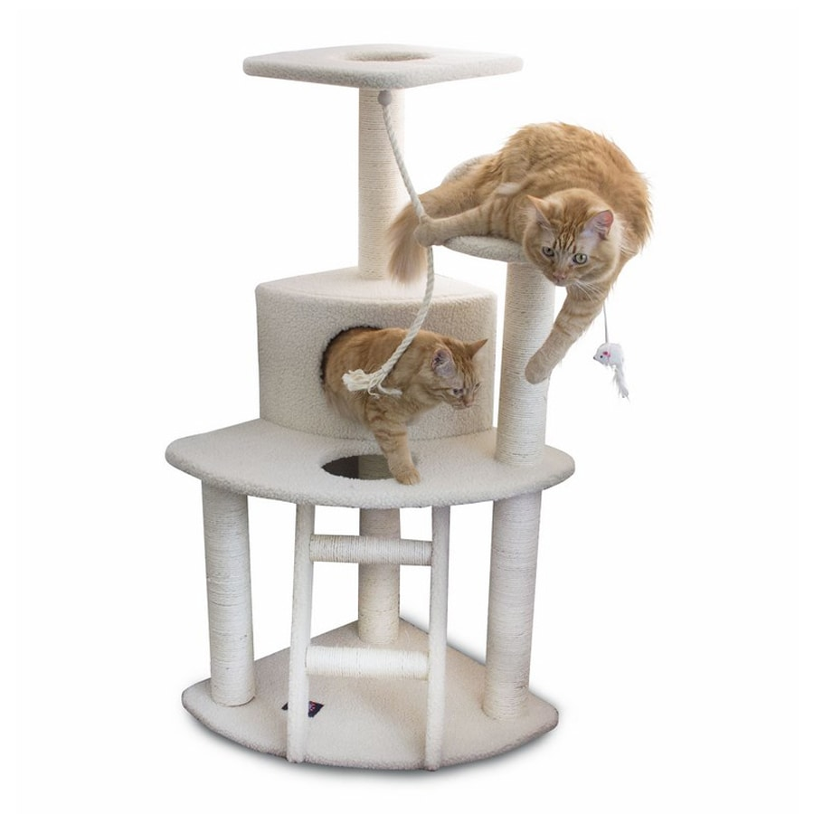 Majestic Pets Bungalow 47-in White Faux Fur Cat Tree