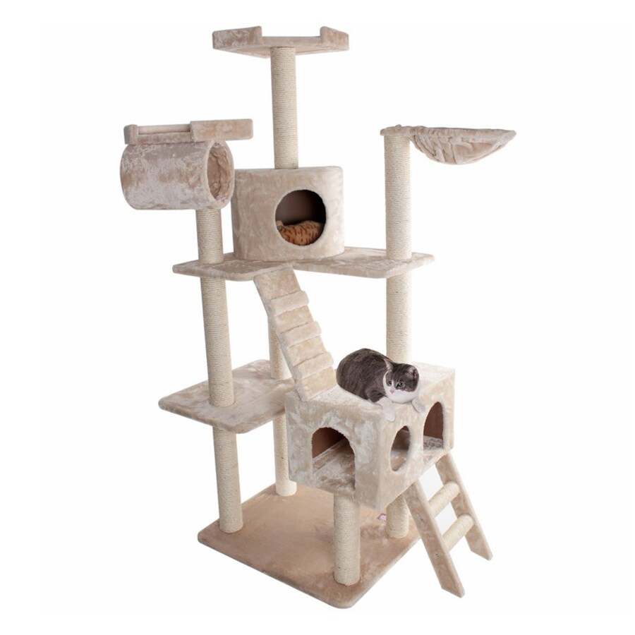 Majestic Pets Casita 73-in Off-White Faux Fur Cat Tree