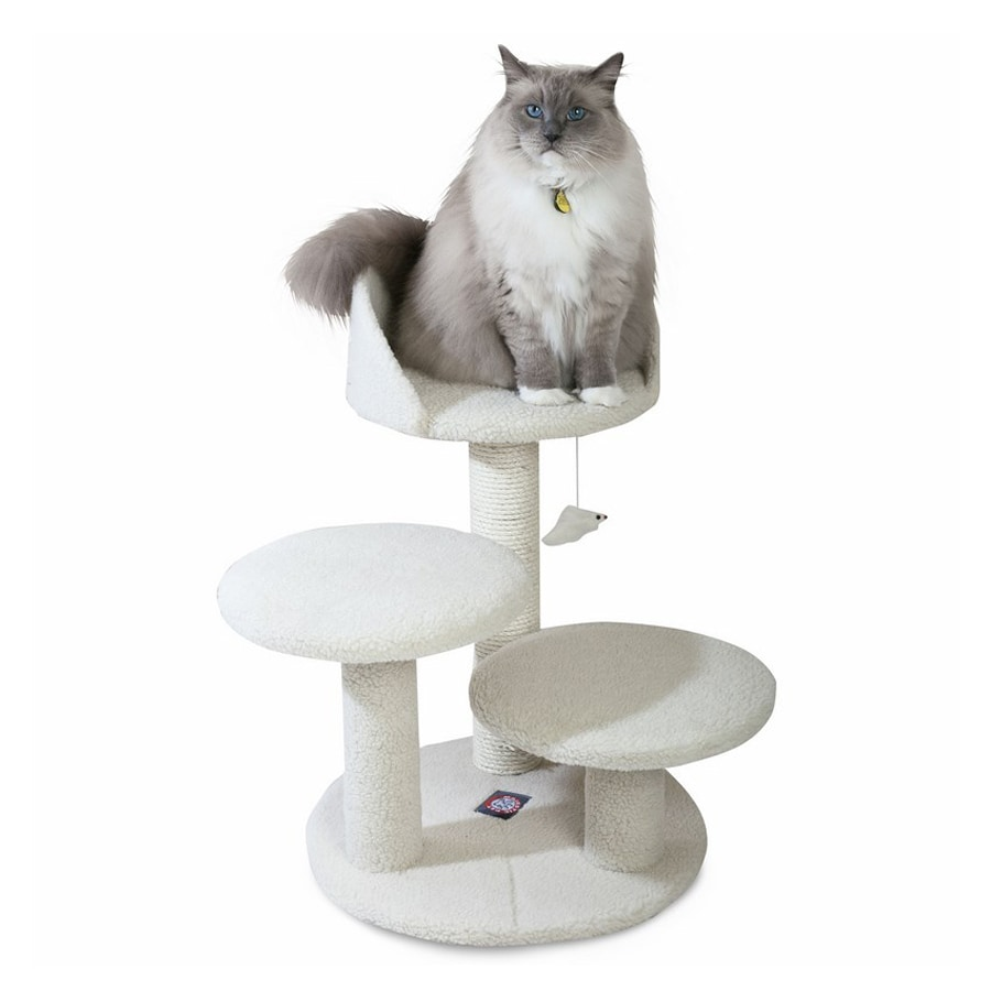 Majestic Pets Bungalow 27-in White Faux Fur Cat Tree