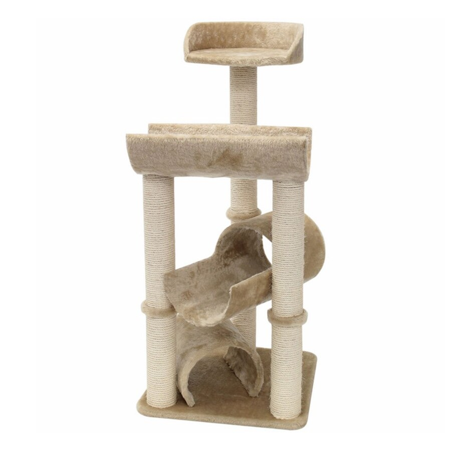 Majestic Pets Casita 44-in Off-White Faux Fur Cat Tree