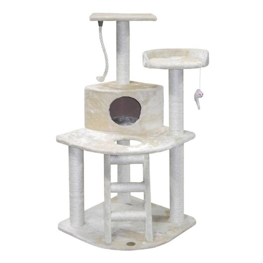 Go Pet Club 47.5-in Beige Faux Fur 8-Level Cat Tree