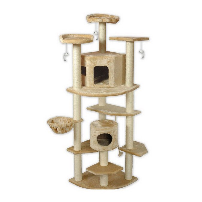 Go Pet Club 80 In Beige Faux Fur 13 Level Cat Tree In The Cat Trees Scratchers Department At Lowes Com