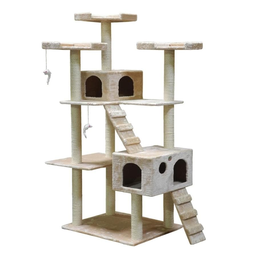 Go Pet Club 72-in Beige Faux Fur 15-Level Cat Tree