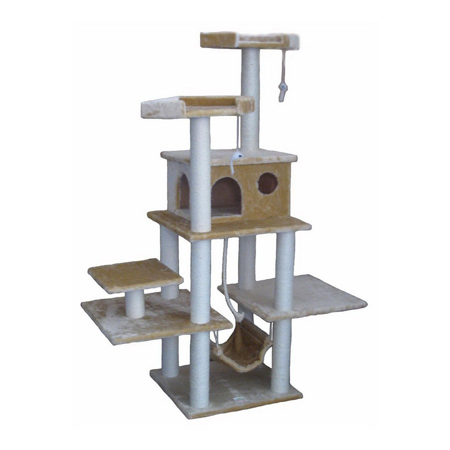 Go Pet Club 72-in Beige Faux Fur 9-Level Cat Tree