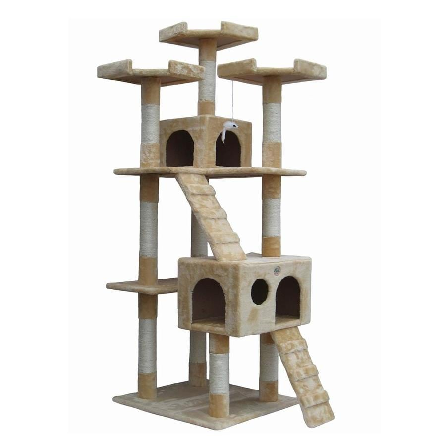 Go Pet Club 72-in Beige Faux Fur 8-Level Cat Tree
