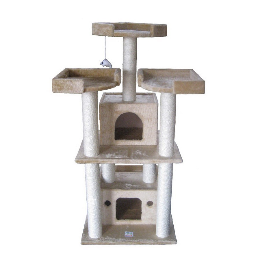 Go Pet Club 51-in Beige Faux Fur 6-Level Cat Tree