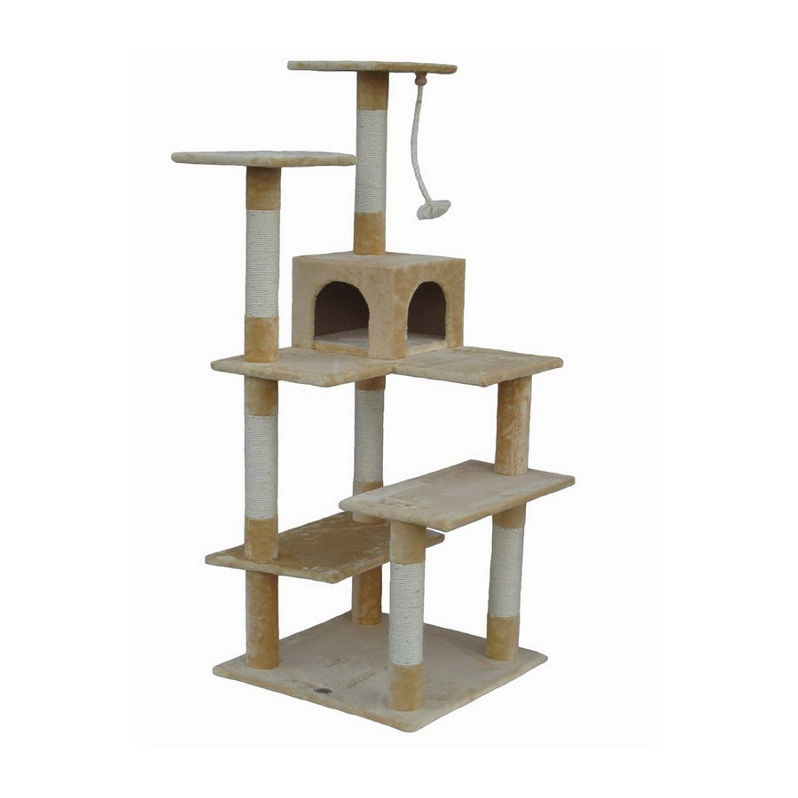 Go Pet Club 65-in Beige Faux Fur 7-Level Cat Tree