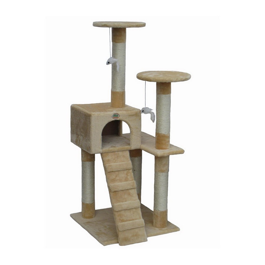 Go Pet Club 52-in Beige Faux Fur 3-Level Cat Tree