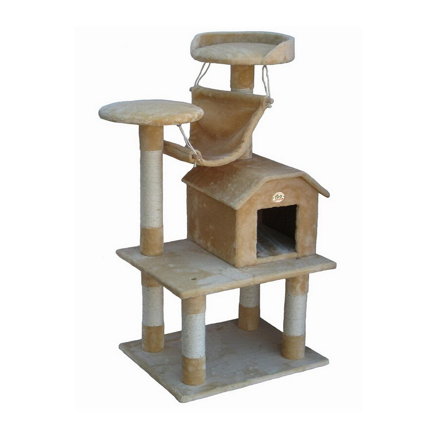 Go Pet Club 49.5-in Beige Faux Fur 3-Level Cat Tree