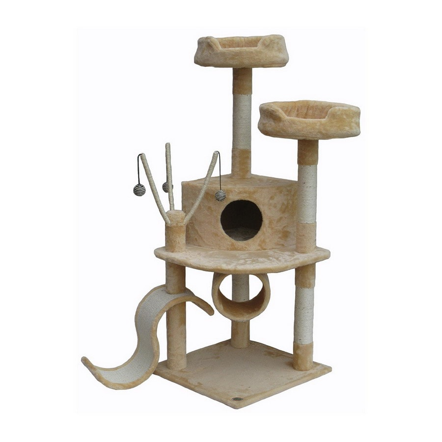 Go Pet Club 55-in Beige Faux Fur 3-Level Cat Tree