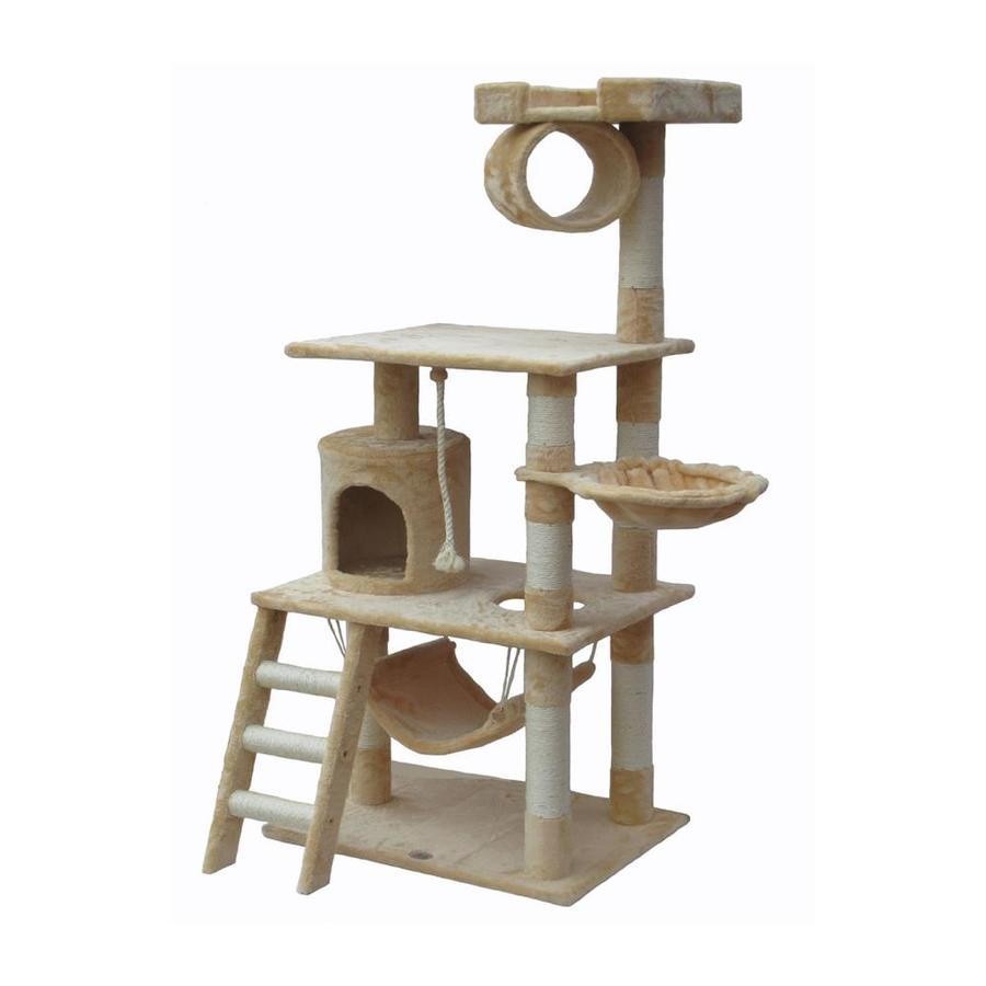 Go Pet Club 62-in Beige Faux Fur 3-Level Cat Tree