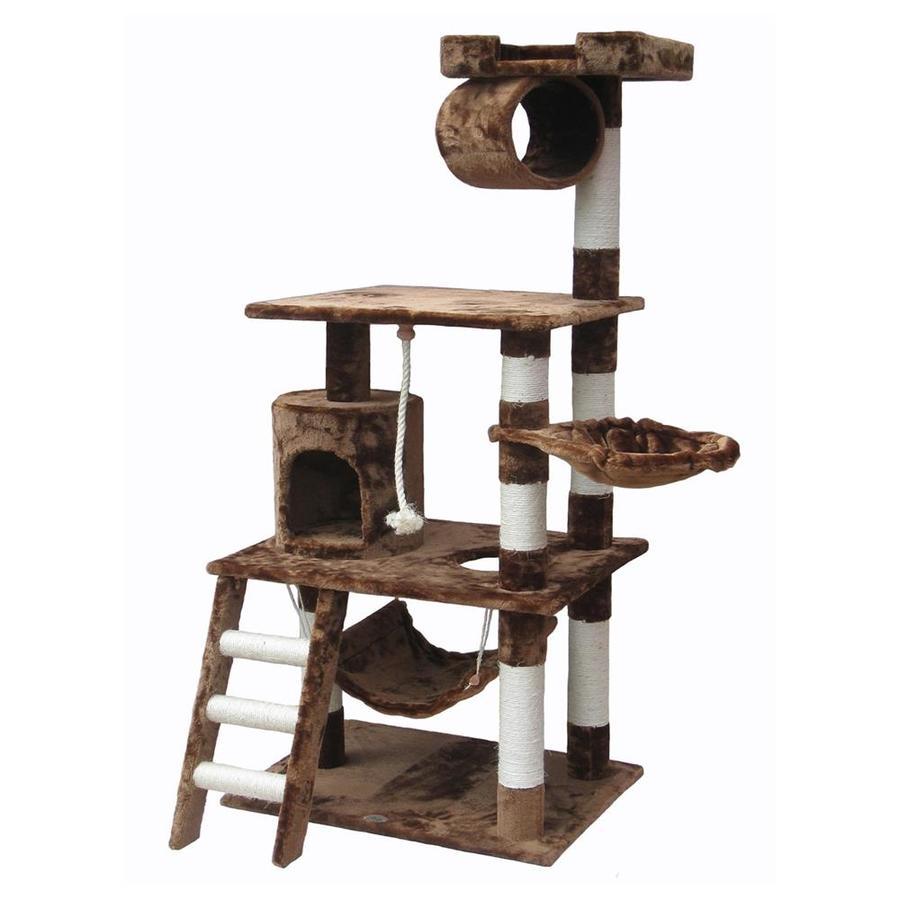 Go Pet Club 62-in Tan Faux Fur 3-Level Cat Tree