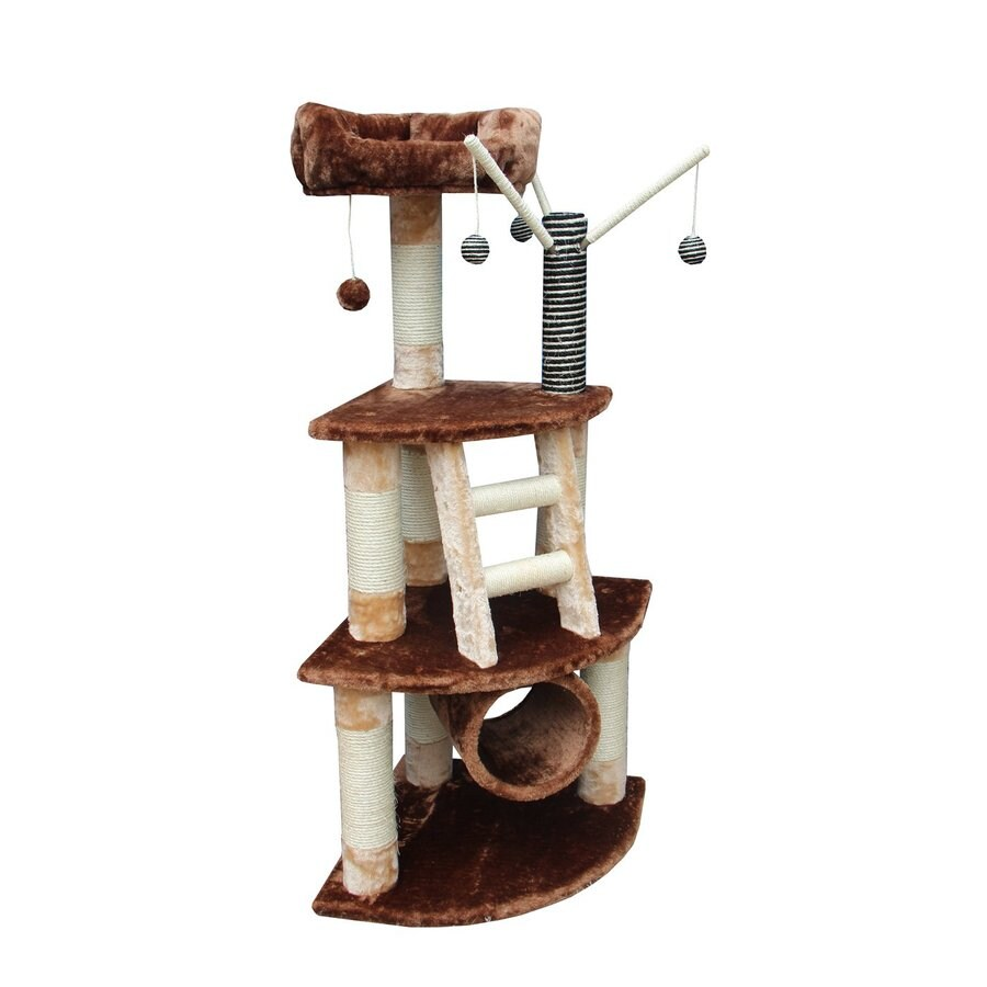 kitty mansions Athens 53-in Brown Faux Fur Cat Tree