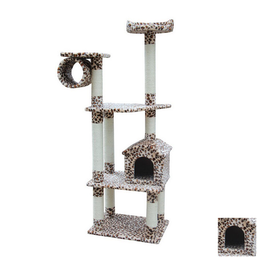 kitty mansions Baltimore 68-in Faux Fur 4-Level Cat Tower