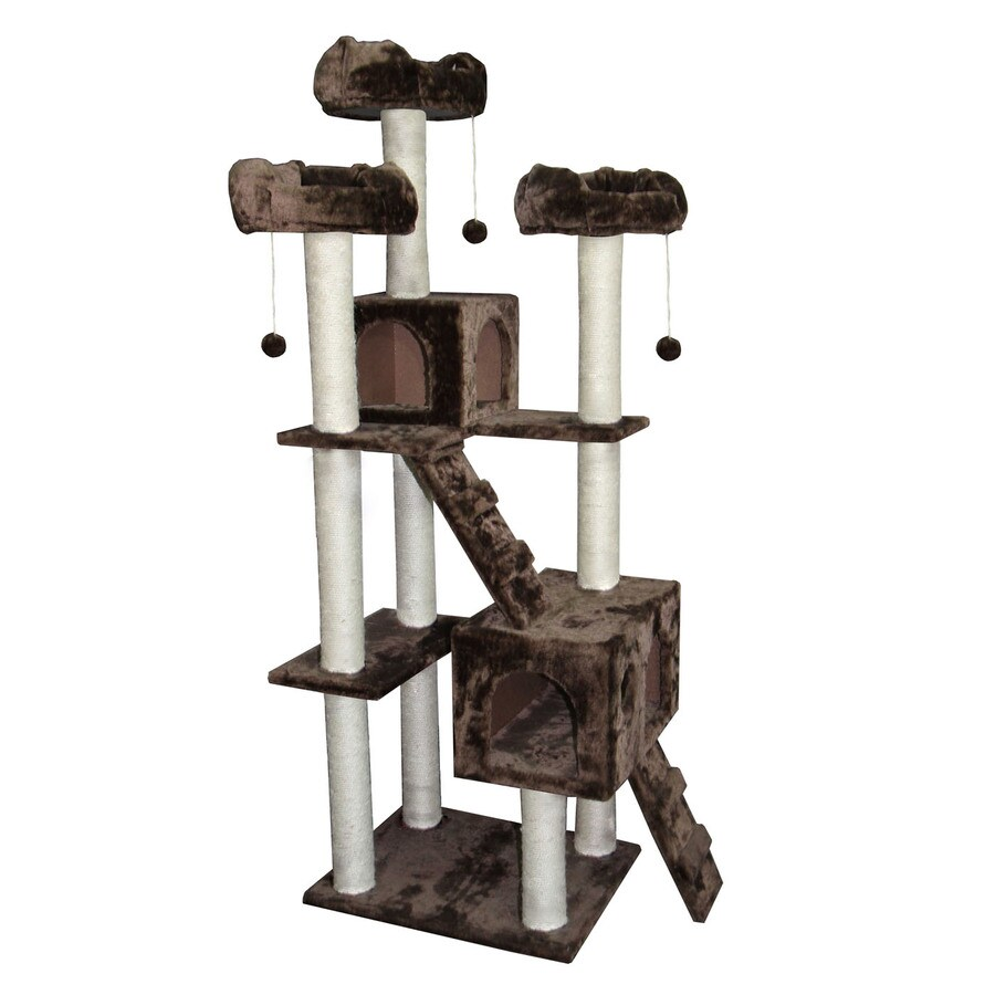 kitty mansions Bel Air 73-in Brown Faux Fur Cat Tree