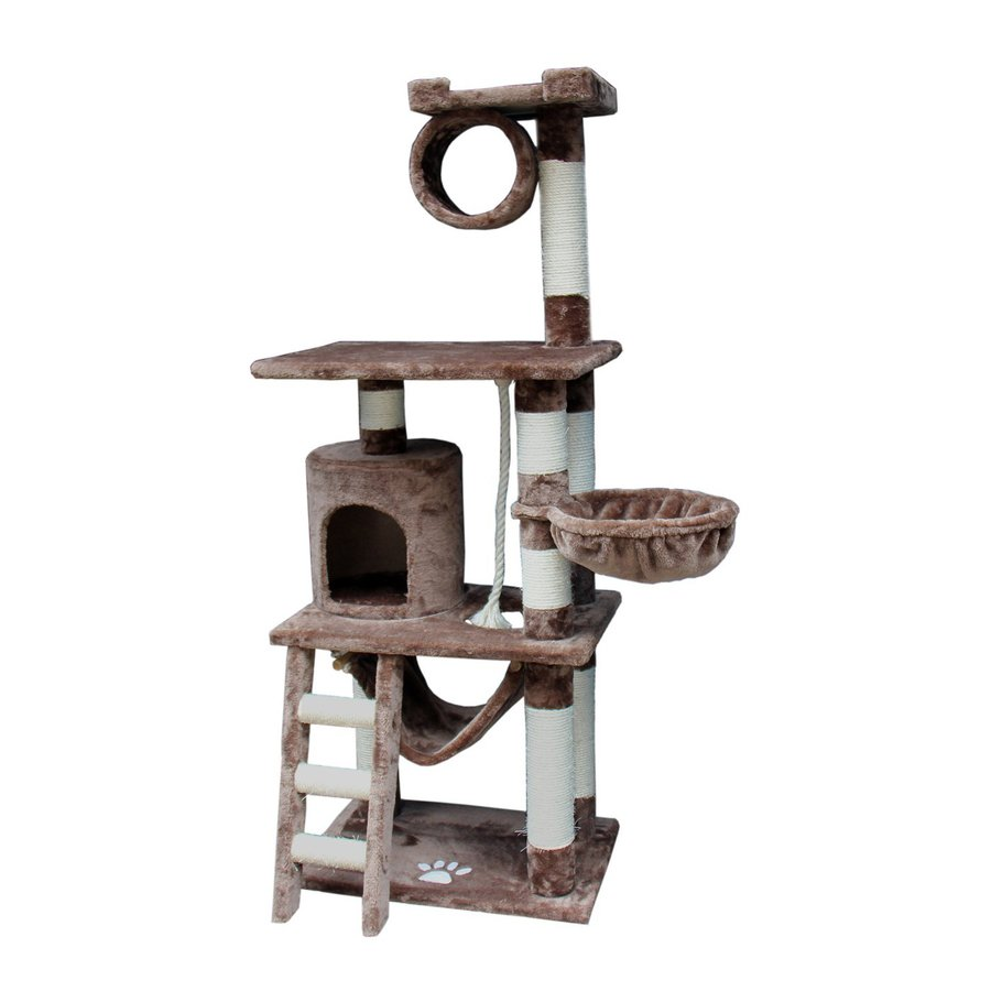 kitty mansions Boston 60-in Brown Faux Fur Cat Tree