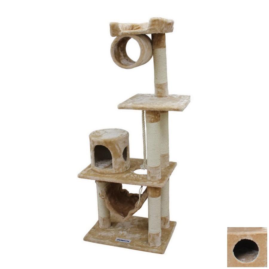 kitty mansions Dallas 60-in Beige Faux Fur 3-Level Cat Tree