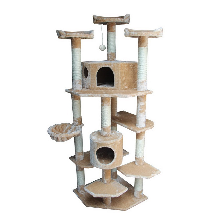 Shop kitty mansions denver 73 in brown faux fur cat tree for Cat tree blueprints
