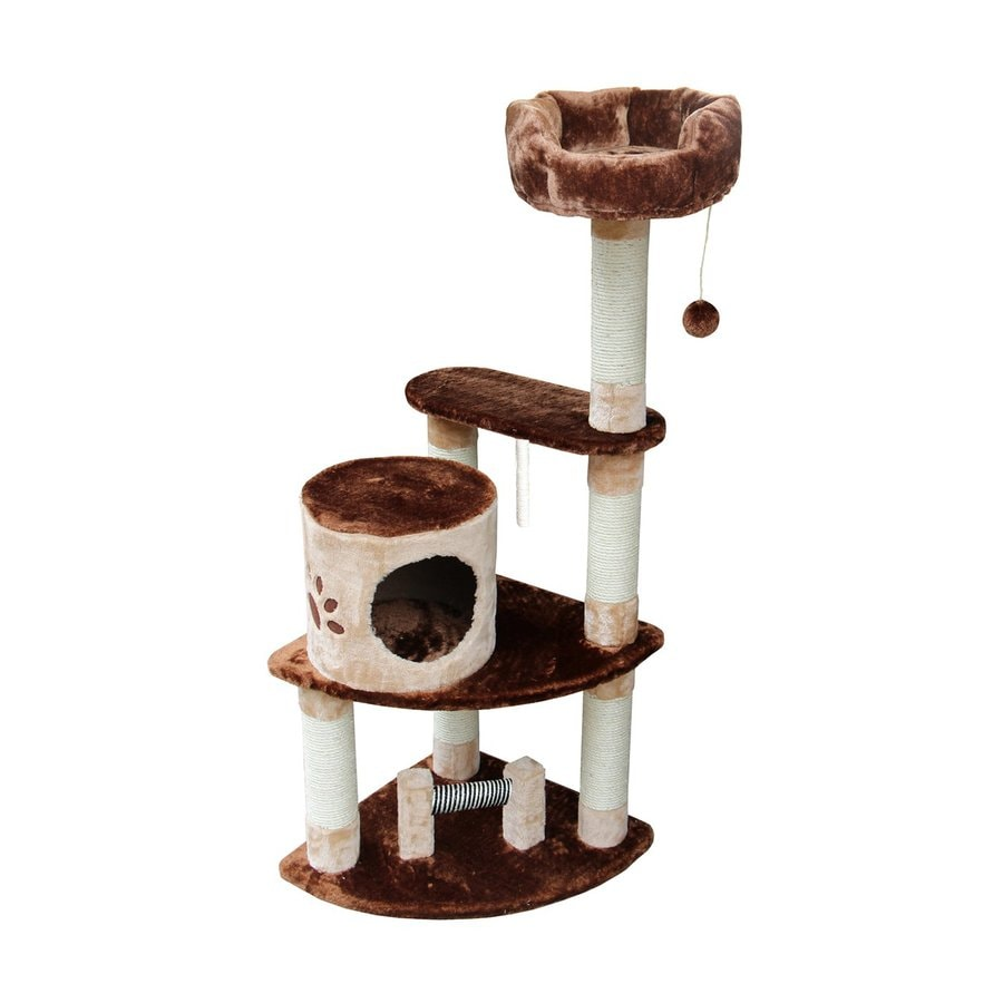 kitty mansions Florence 53-in Brown Faux Fur Cat Tree